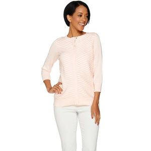 H by Halston Women 3/4 Sleeve Cardigan  Faux Sued